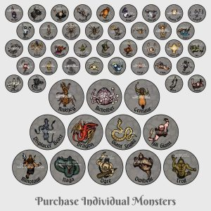 Fantasy 2D Miniature Monsters - Sold Individually